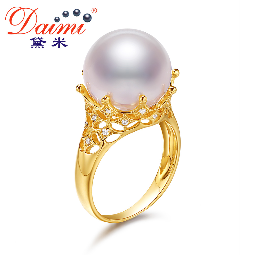 Demi Jewelry Guanmei 13-14mm large round beads strong light freshwater pearl ring for girlfriend G14k gold ring