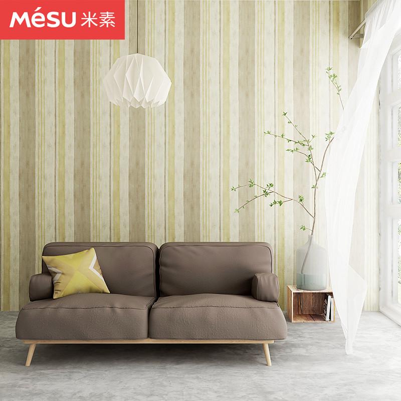 布洛森非自粘壁纸比利时原装进口美式竖条纹无纺底纸墙纸米素