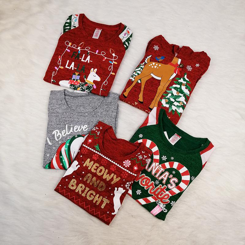 秋冬新款圣诞节主题雪花驯鹿男童女童装薄款长袖上衣班服小队队服