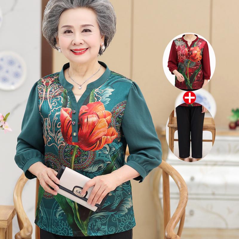 中老年人春装大花衬衫女时尚民族风老太太妈妈衬衣奶奶装夏装套装