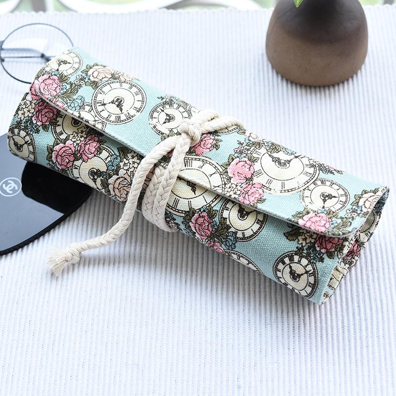 玫瑰布艺化妆刷包帆布化妆品收纳袋便携化妆工具包小号简约洗漱包