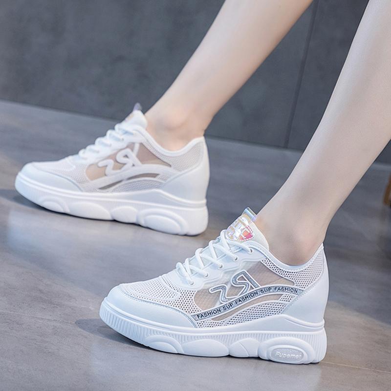 夏款内增高小白鞋女2020新款网面透气运动鞋白色网纱镂空休闲网鞋