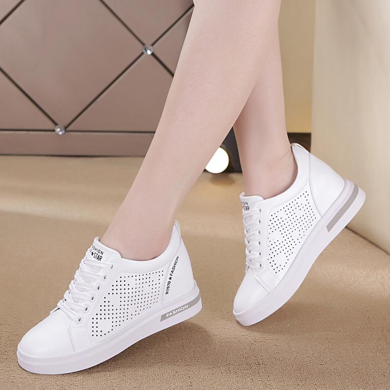 镂空小白鞋2019夏款皮面内增高女鞋显瘦坡跟单鞋子透气运动休闲鞋