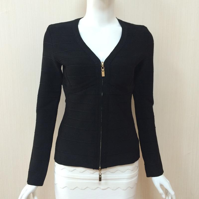 2017 AW простой v-образным вырезом тонкий талии бандаж zip полупальто мало черный пиджак с длинным рукавом женская одежда