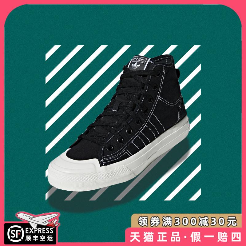 阿迪达斯三叶草NIZZA HI RF男女款黑色高帮运动帆布板鞋F34057图片