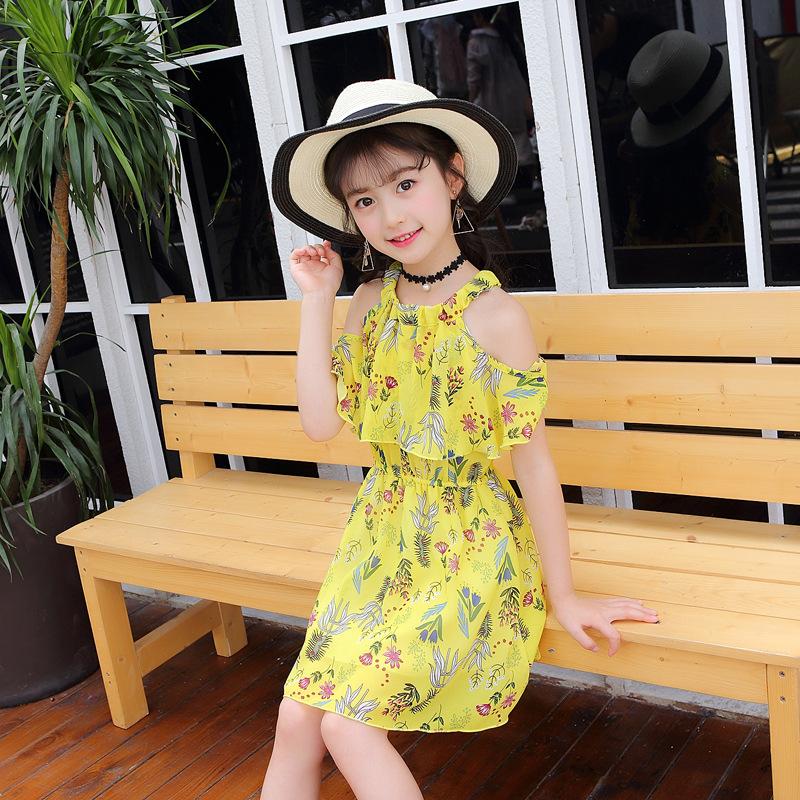 包邮女童连衣裙2018夏款韩版蕾丝拼接公主风连衣裙长29