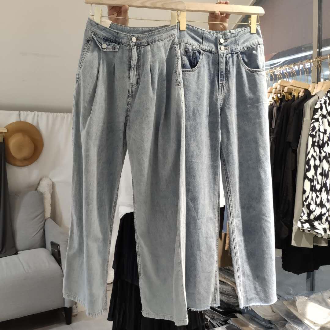 ANCE studios定制限量 柔软亲肤薄款高腰显瘦阔腿牛仔长裤 2756