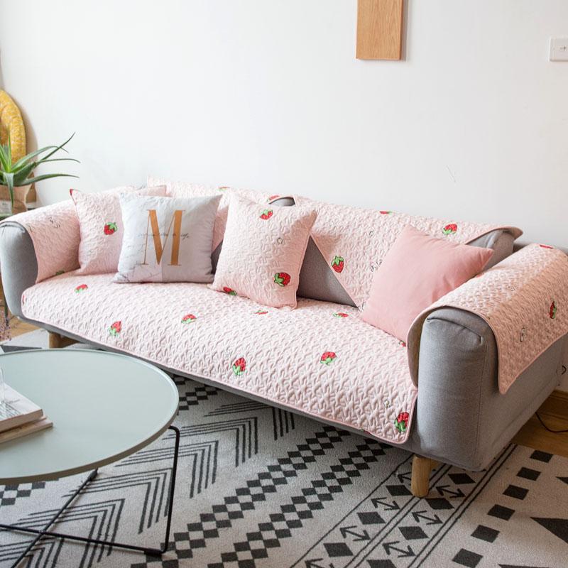 莫耐河 草莓甜心粉色全棉布艺沙发垫坐垫透气防滑四季沙发盖巾套11-10新券
