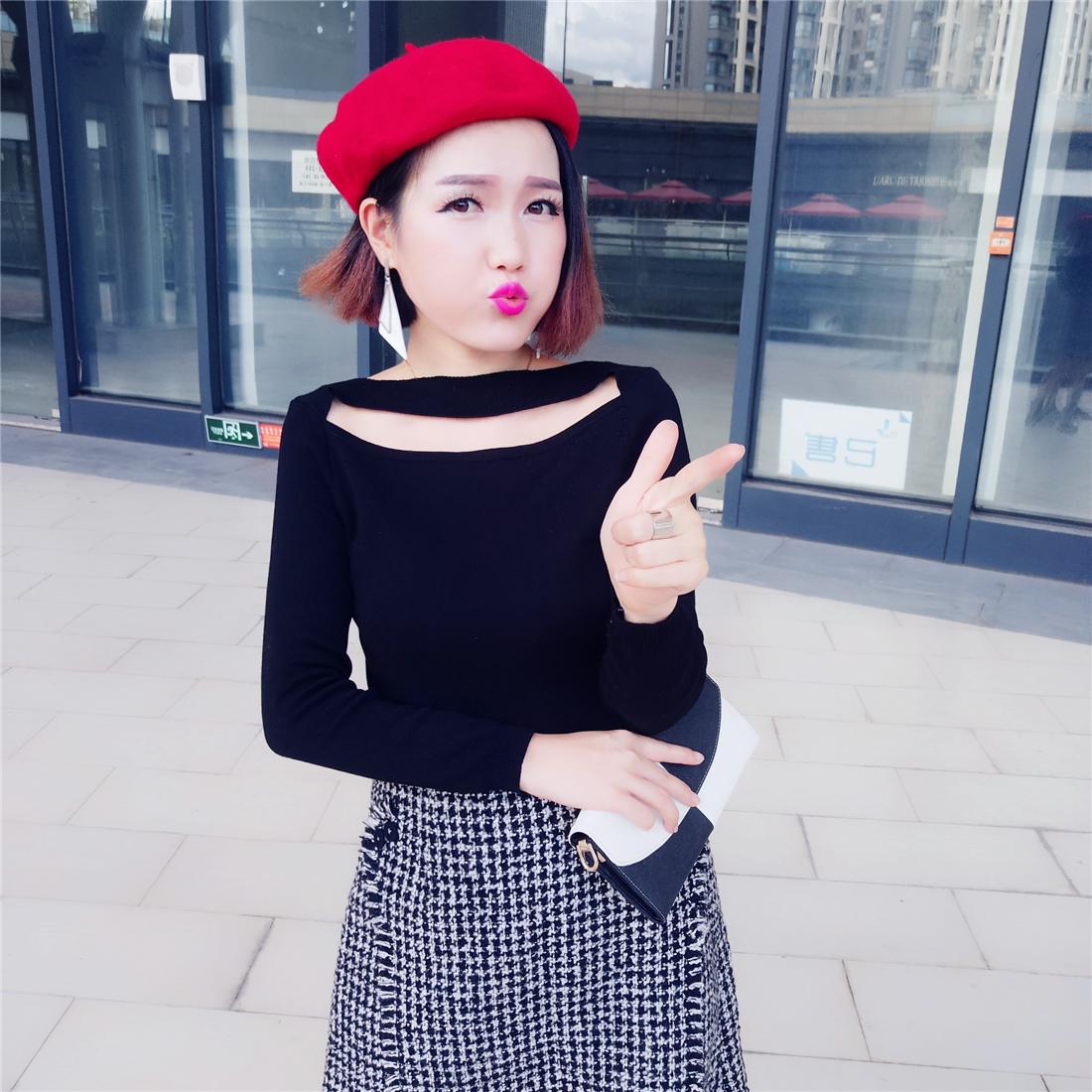 倾尘姑娘 2017年小众款秋冬女装修身显瘦百搭长袖性感针织打底衫