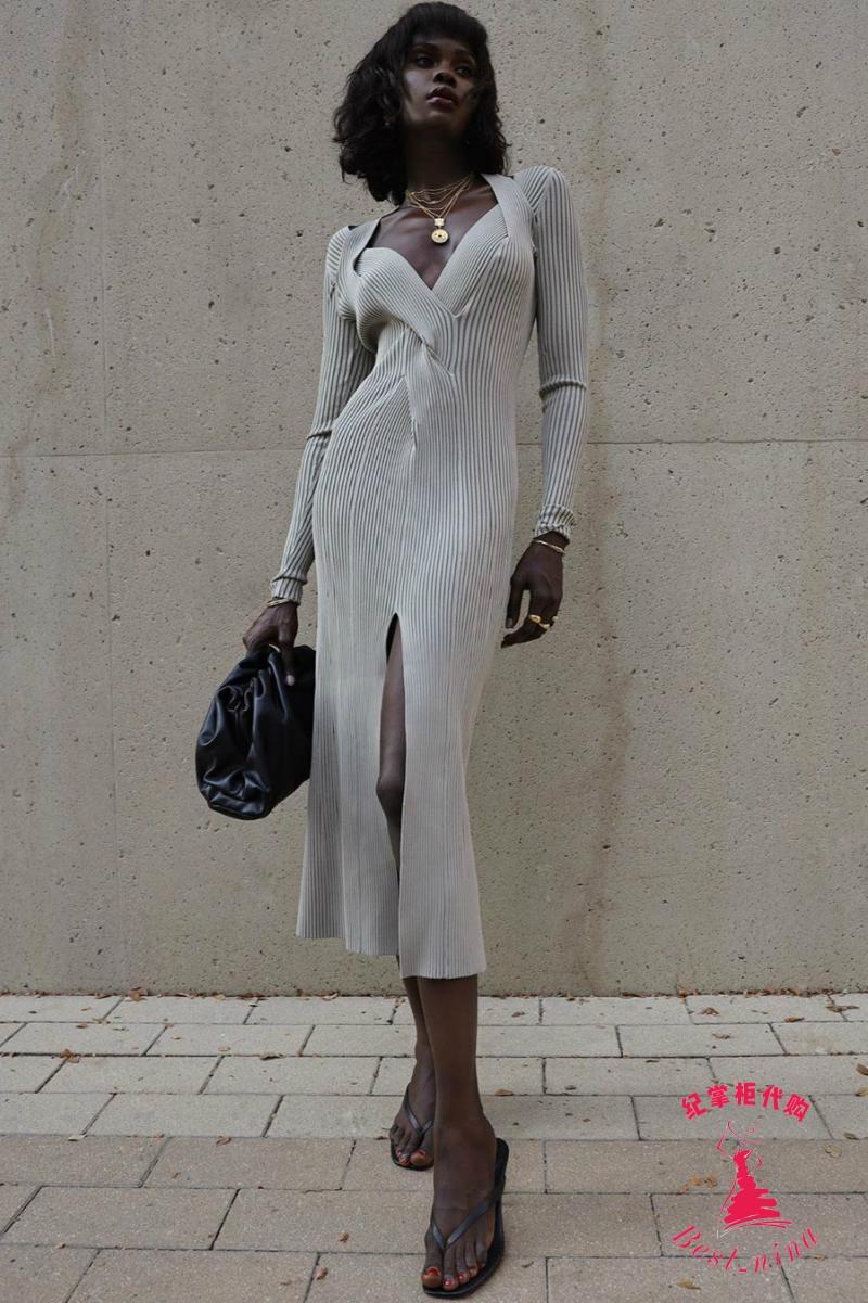 纪掌柜代购 DION LEE Shadow法式复古挖剪罗纹弹力针织中长连衣裙