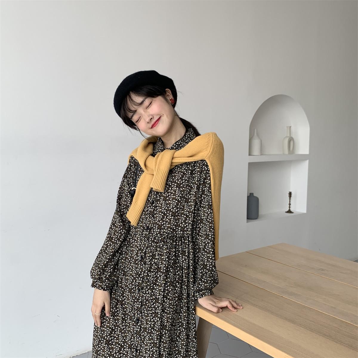 陆小团团 韩版秋季打底外穿连衣裙气质翻领中长款碎花雪纺裙子女
