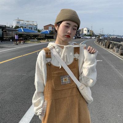 陆小团团 自制日系秋冬vintage复古古着感宽松百搭灯芯绒背带裙女