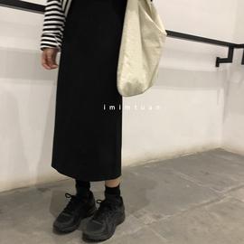 陆小团团 2020秋季新款高腰显瘦纯色百搭后开叉A字半身裙女图片