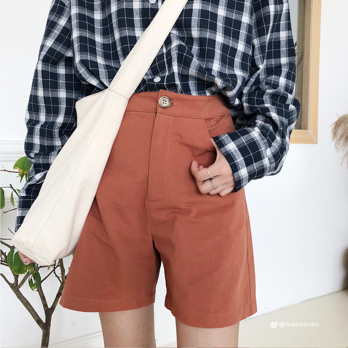 4折清仓 韩系短裤五分裤女2018夏季新款显瘦纯色裤子工装裤女装.