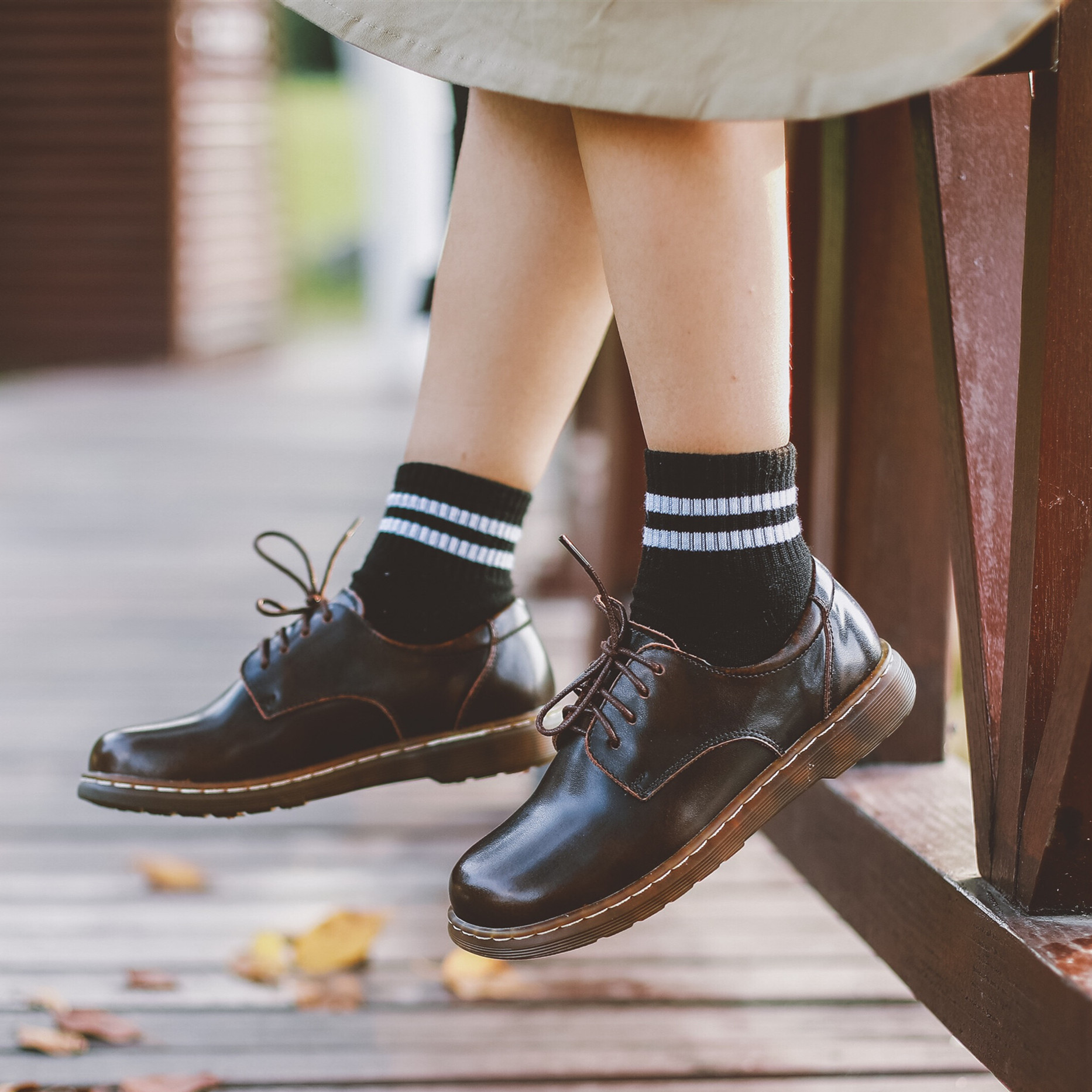 Ins retro brown leather shoes literary retro soft cute square toe Oxford Shoes British style lace up Martin shoes