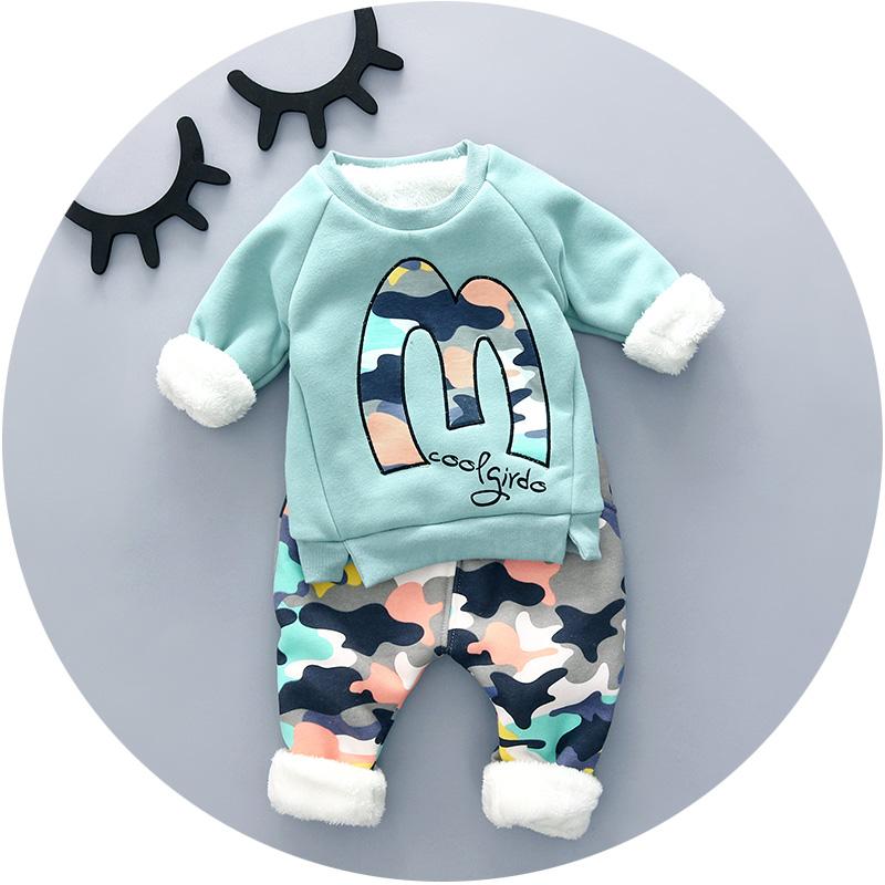 寶寶 裝男套裝 0~1~2~3歲嬰兒衣服 加絨加厚 迷彩套裝H151