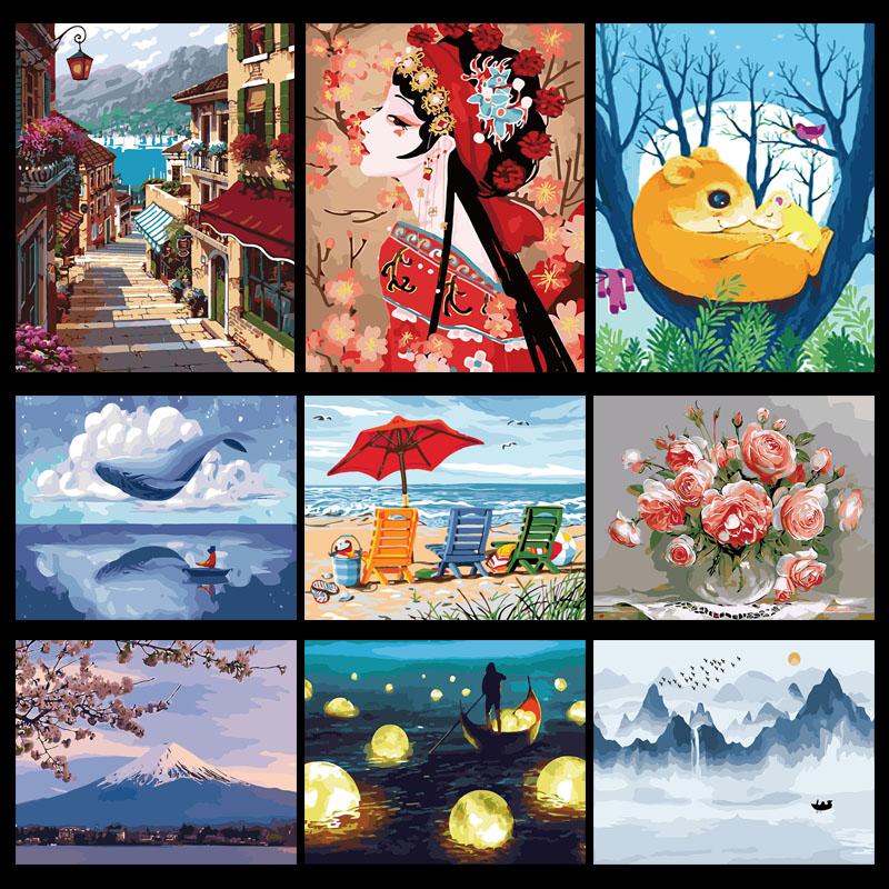 diy手绘丙烯填色减压数字油画北欧风景花卉卡通人物客厅装饰40x50图片