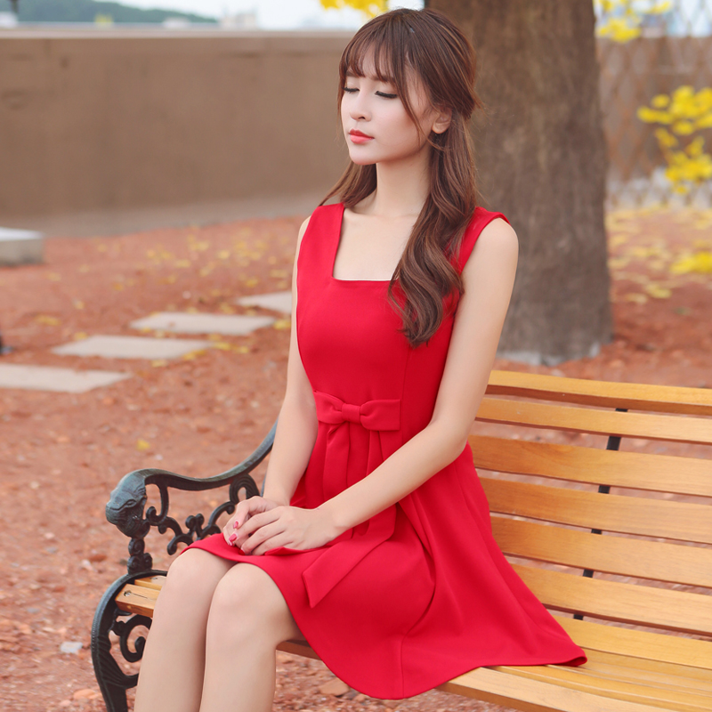 [limited time promotion in summer] red dress sleeveless slim fit bow short skirt high waist womens 2018 NEW