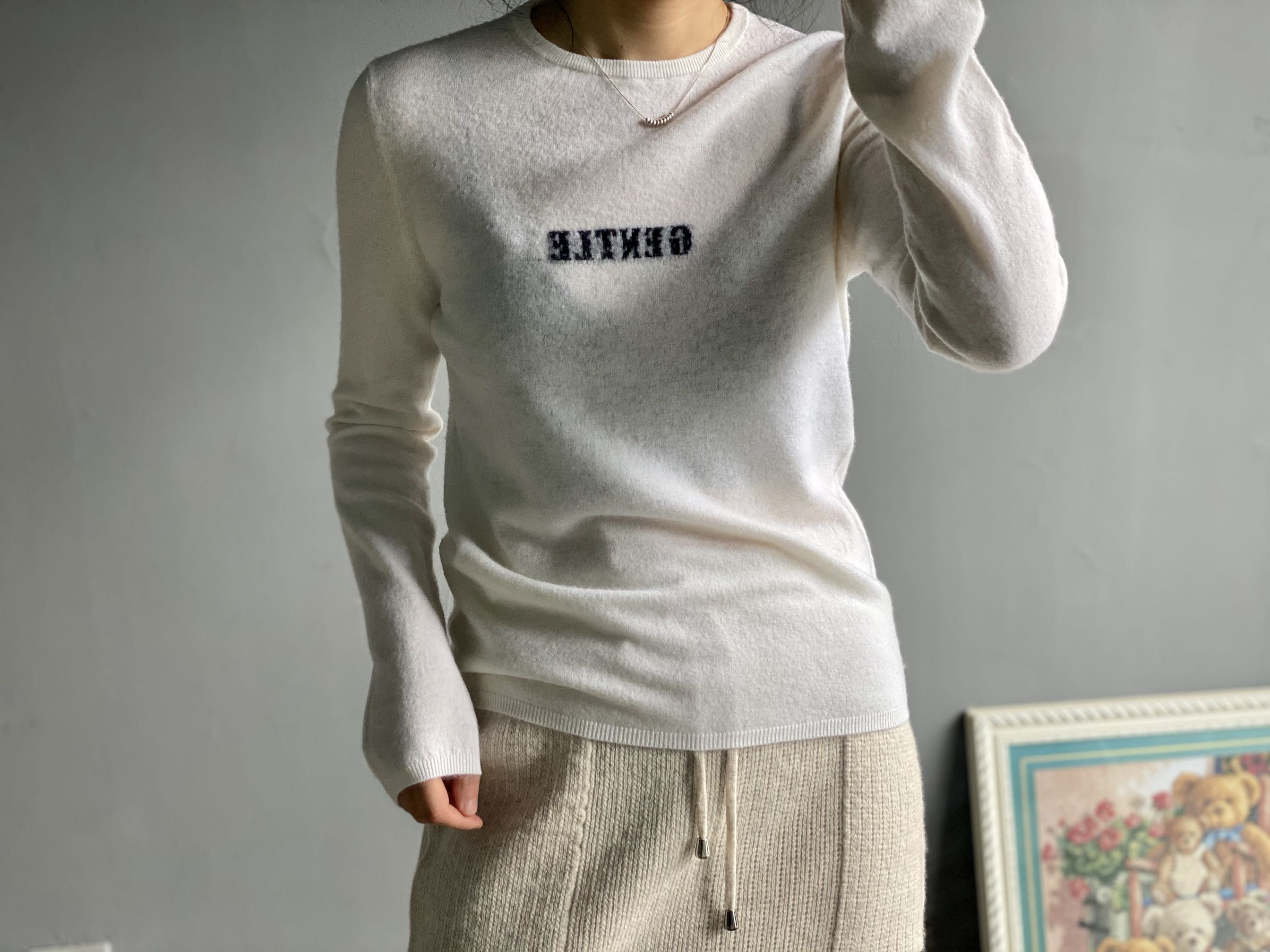 2020 spring round neck thin cashmere wool long sleeve knitted sweater top