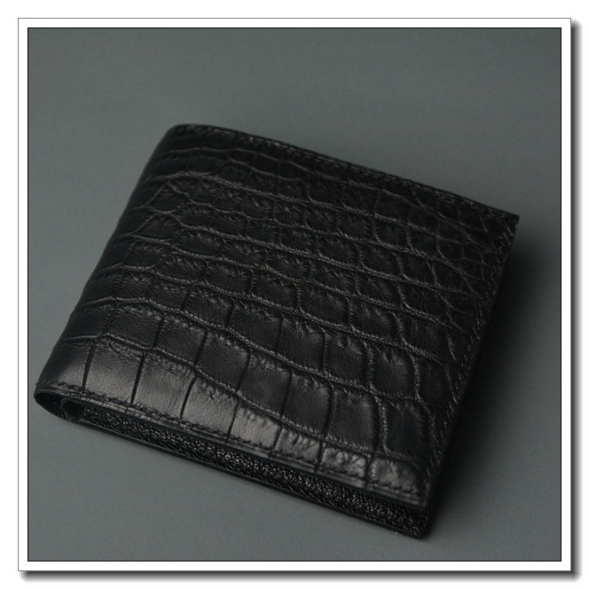 Handmade mens black special leather rare leather e fish skin short two fold Wallet 10 card double cash pocket