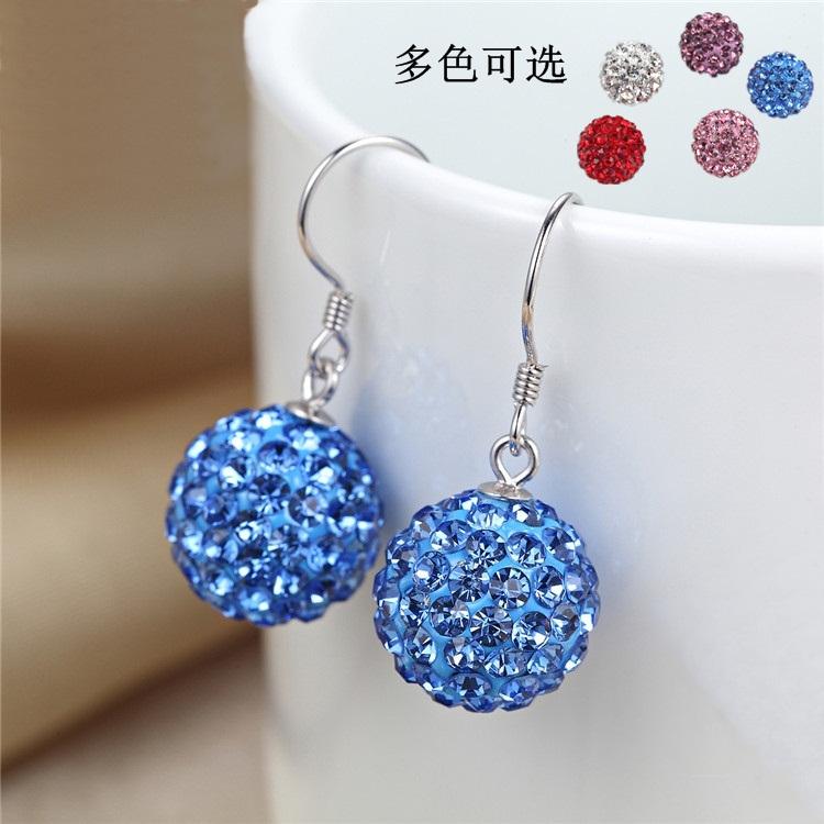 925 Sterling Silver Earrings womens super flash Korean temperament blue white crystal diamond Ball Earrings long anti allergy Earrings