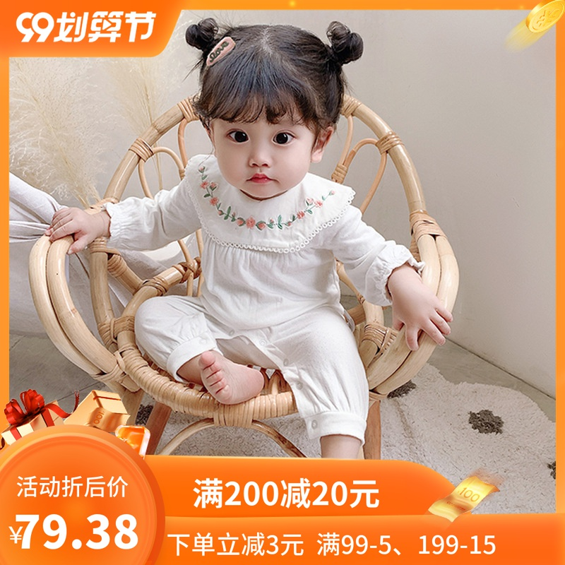 New style Jumpsuit Girls Embroidered round neck 3-6 months Jumpsuit 2 lace back creeper long sleeve Romper