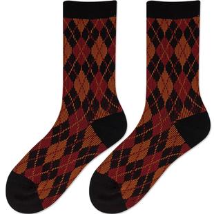复古菱形格子高腰民族风彩色中筒袜