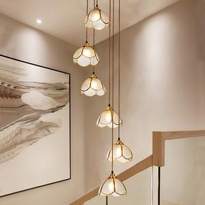 楼梯灯长美式全铜餐厅loft吊灯