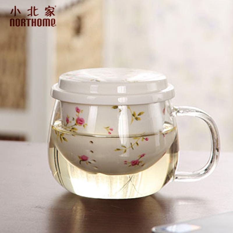 小北家加厚三件式陶瓷�^�V花茶杯泡茶杯耐�岵AП�茶水分�x杯子
