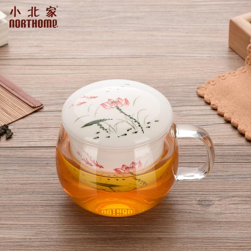 小北家釉下彩耐热玻璃杯加厚三件式透明花茶杯陶瓷泡茶杯茶汤分离