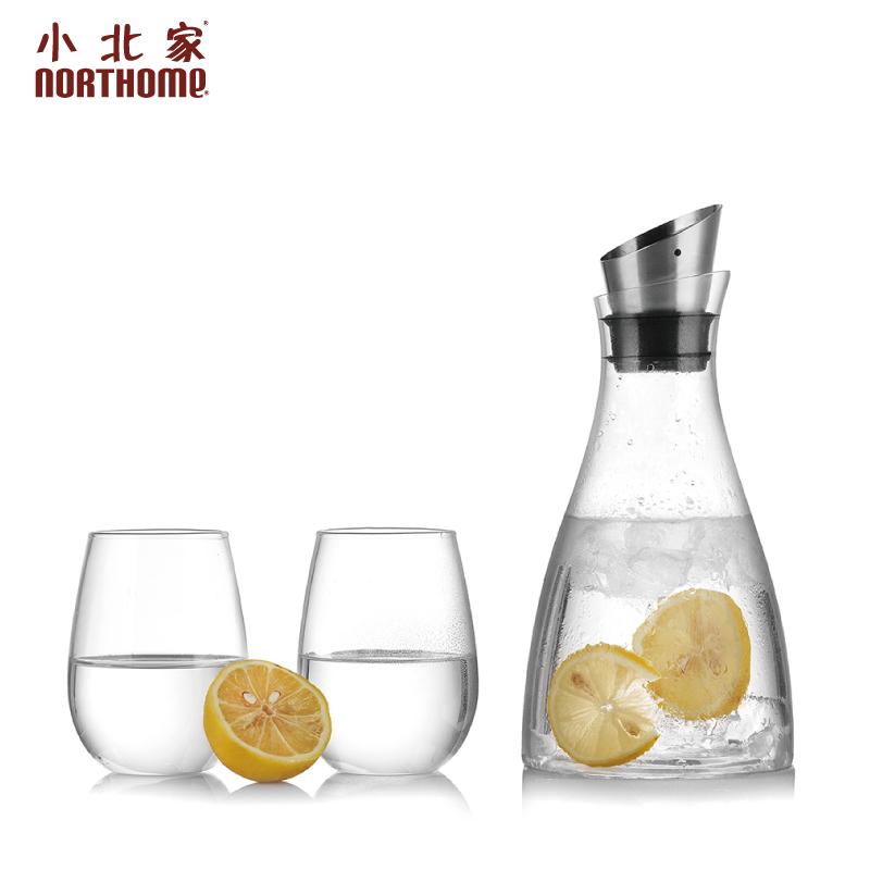 小北家 斜口涼水壺冷水壺耐熱玻璃大容量檸檬果汁壺防側漏北歐
