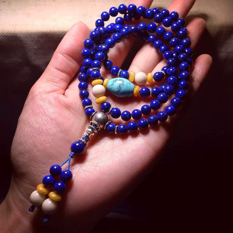 [upstairs well] special price of 6mm less gold less white lapis lazuli 108 Buddha beads / Bracelet / Bracelet