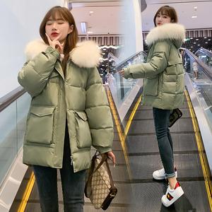 實拍小個子短款羽絨棉服女2021冬新款加厚收腰大毛領保暖棉衣