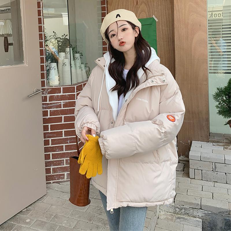 實拍假兩件棉服女2021新款學生寬松短款棉衣ins面包服冬季外套