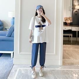 孕妇装夏装短袖T恤小脚裤两件套宽松上衣九分裤休闲套装时尚款潮