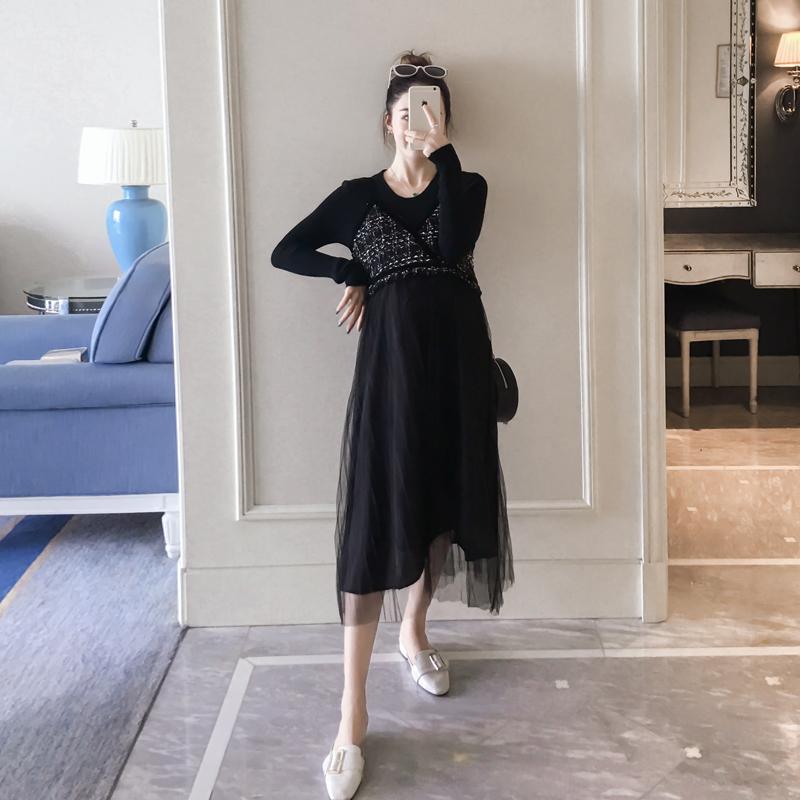 孕妇秋装网纱吊带裙套装时尚款2019新款修身打底衫连衣裙两件套潮(非品牌)