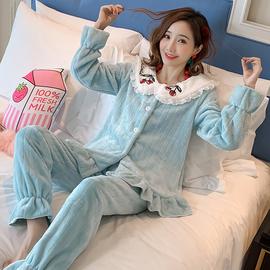 睡衣女秋冬珊瑚绒甜美学生可爱休闲法兰绒蕾丝花边居家两件套装潮