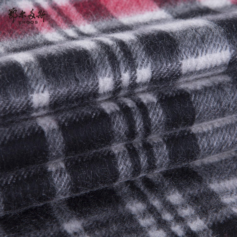鄂尔多斯 19秋冬纯山羊绒单层水纹格围巾时尚百搭流苏装饰围脖