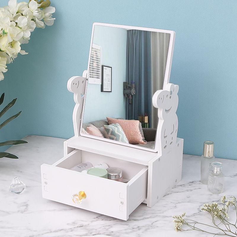 创意桌面化妆镜台式大号学生便携可旋转高清卡通公主宿舍梳妆镜子