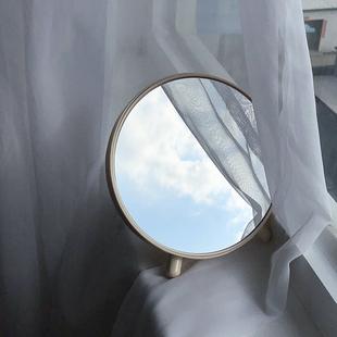 馨帮帮 创意家居圆形梳妆镜塑料储物收纳台式化妆镜桌面摆件镜子