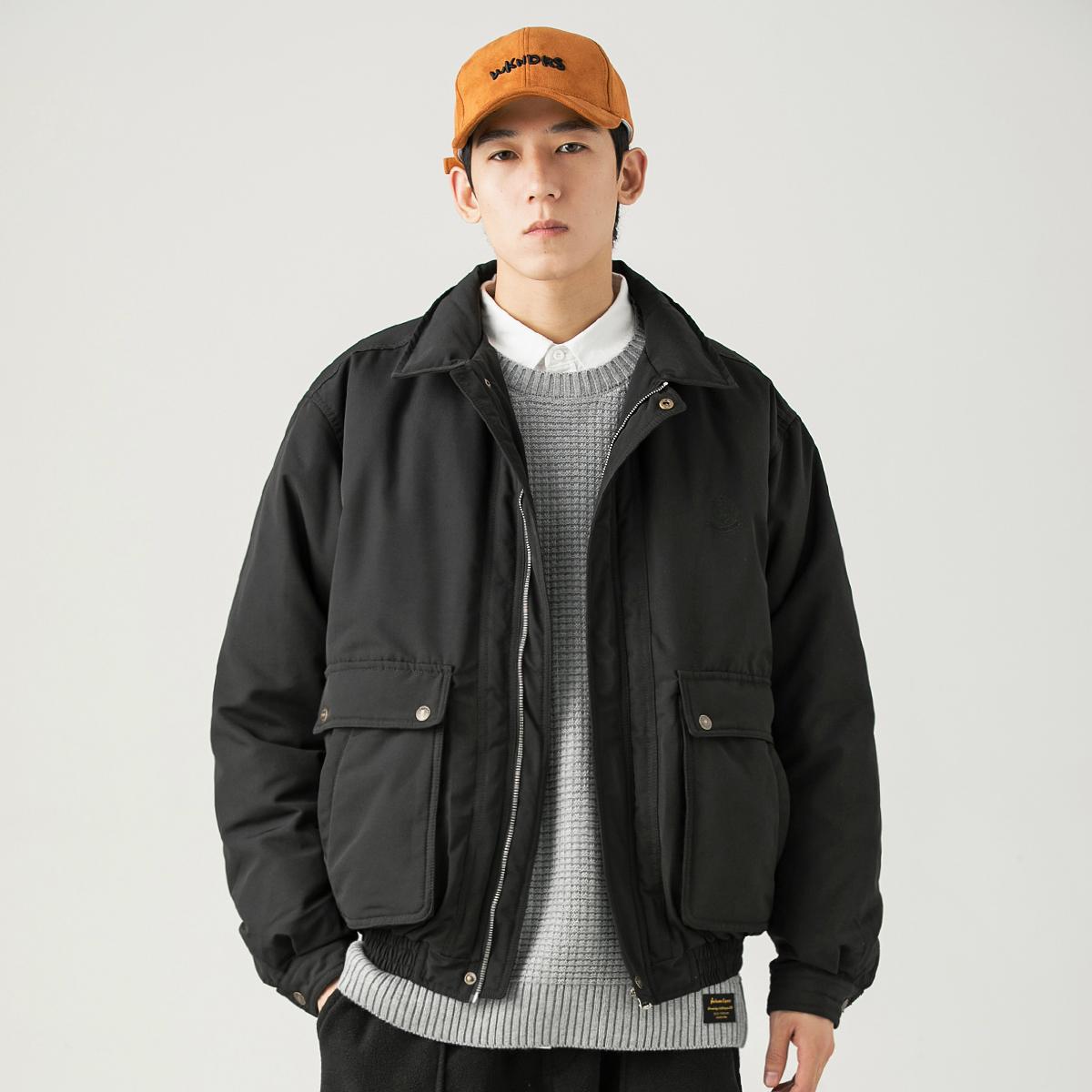 GBOY冬季白鸭绒羽绒服男短款纯色日系复古工装上衣休闲保暖外套男