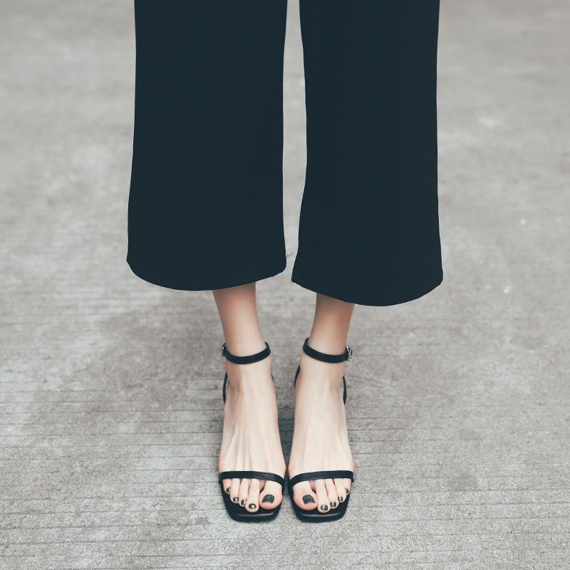 DOMS凉鞋女仙女风新款百搭2020夏季一字带粗跟女鞋百搭网红高跟鞋图片