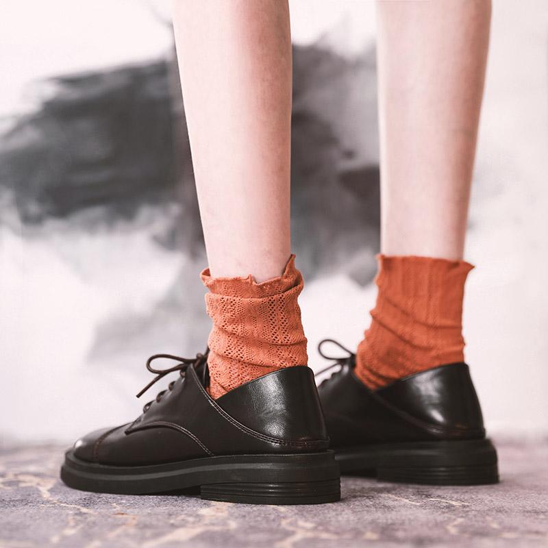DOMS小皮鞋女单鞋2020春季新款女鞋系带加复古伦风学院两穿平底鞋