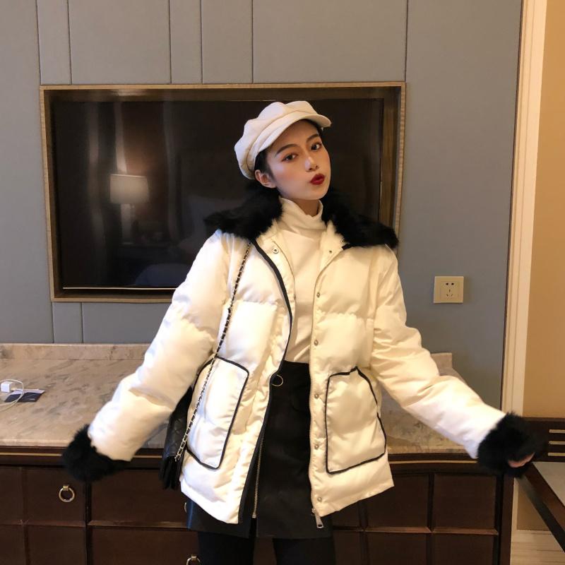 实拍实价  韩版chic真兔毛小香风气质棉衣黑白拼接