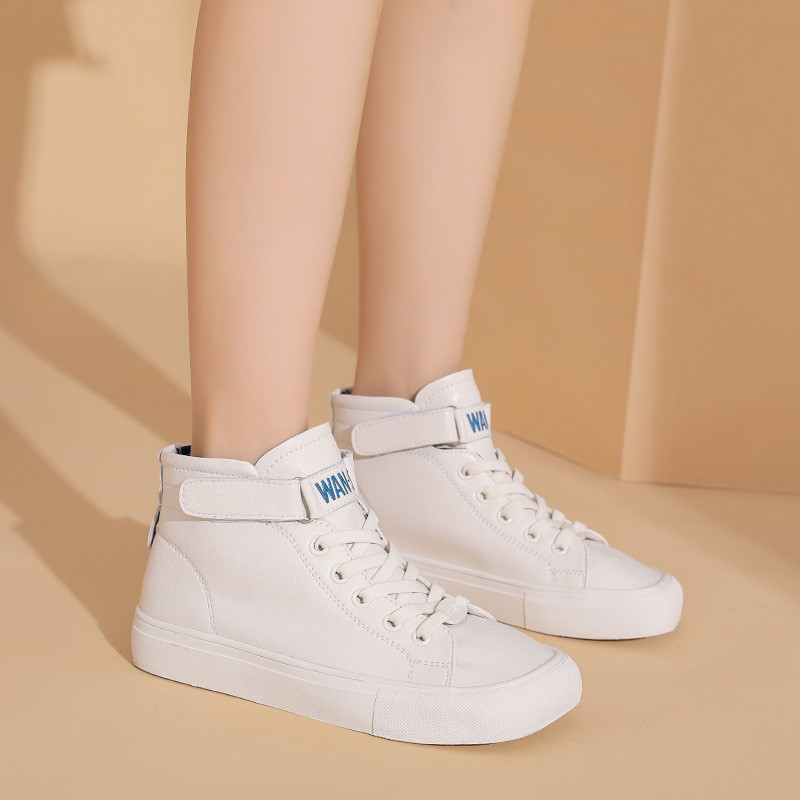 Large womens shoes 41-43 high top shoes womens autumn 2021 new flat bottom leisure version white sports small white shoes women