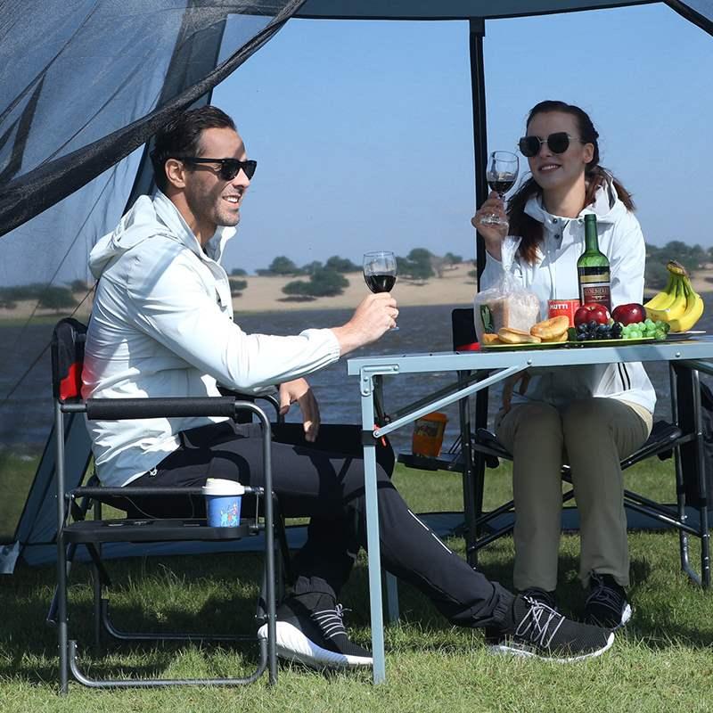 新款KingCamp户外便携折叠椅带侧台沙滩休闲椅老板明星导演办公扶