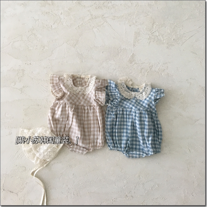 Waiwaiwai South Korea childrens clothing agency purchase 2021 summer th girls lovely lace collar lace Sleeve Plaid baby Jumpsuit