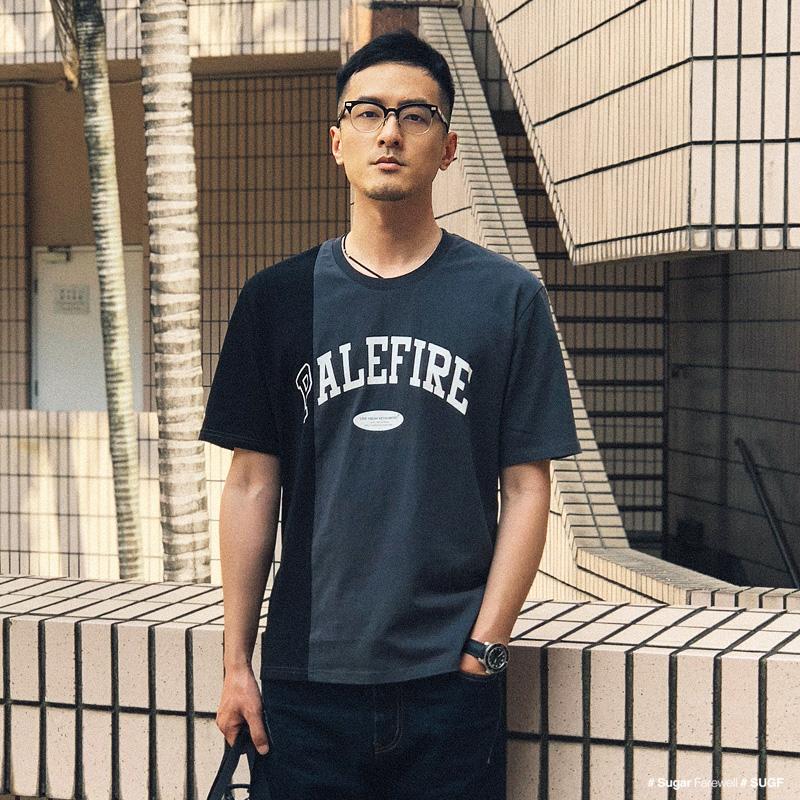 夏季新品 欧美街头拼接撞色印花圆领短袖T恤男 百搭基础款短袖Tee