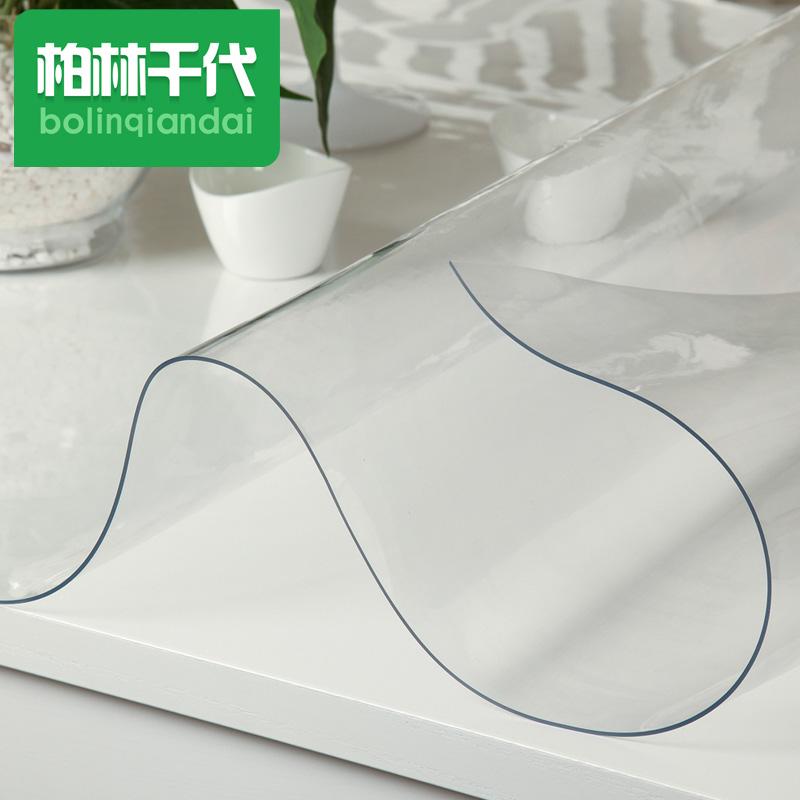 柔らかいガラスに厚いPVCのテーブルクロス防水、耐熱性の透明なテーブルマット、プラスチック台布の接着剤、水晶板、茶、パッド