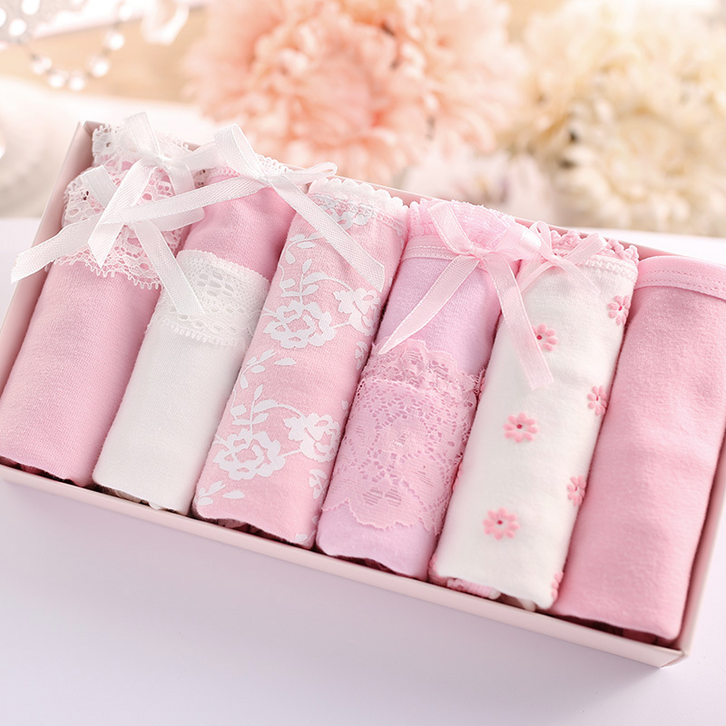 [six pack] pure cotton womens underwear gift box set 20 sets of pure cotton briefs and fine cotton cartoon